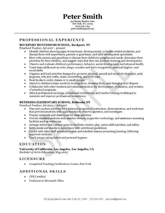Teacher Resumes Preschool Teacher Resume Sample  Simple Teacher