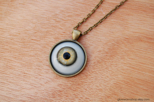 Human Eye Necklace / Human Iris Necklace / Eyeball by glowwormshop
