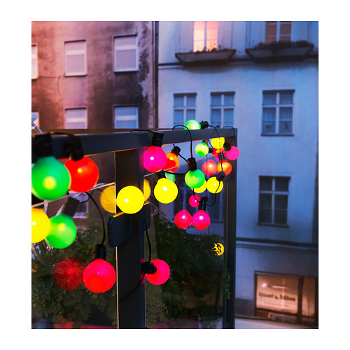 ikea solar powered outdoor lighting string 16 light globes multi colored chain ebay. Black Bedroom Furniture Sets. Home Design Ideas