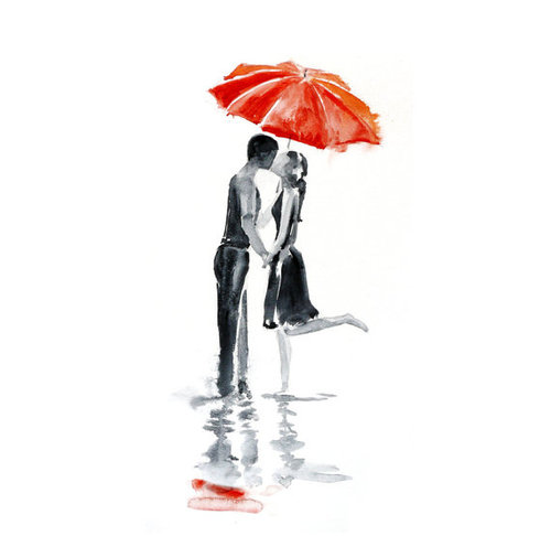 Art poster Love red umbrella Love umbrella watercolor by PortLove