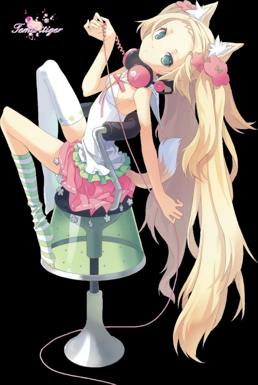 Render h2so4 kitsune blonde casque jupe assise fauteuil fille hybrides fantastique png - Image de personnage de manga ...