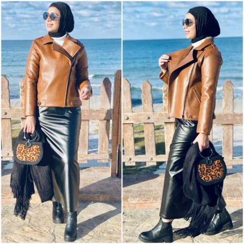 hijab, leather jacket, and leather skirt image