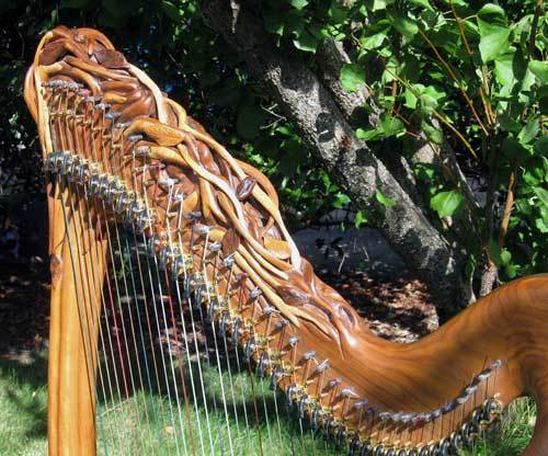 Custom Carving and Painting on Your Custom Harp, One-of-a-kind Harps, Laser harp, Electric Harp, MIDI Harp, Celtic Harp, Carved Harp, Healing Harp, Therapy Harp, Double Strung Harp, Harp Repair, Lap Harp, Cross Strung Harp, Spiritual Harp, King David harp