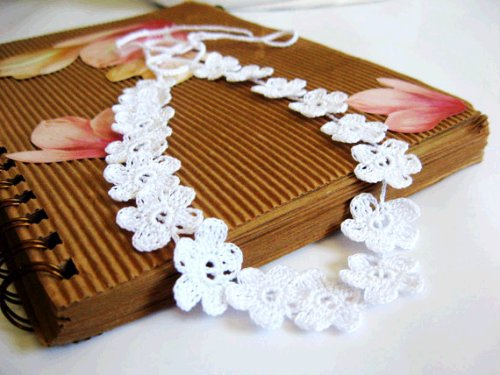 Trendy Necklaces for Wedding, – Crochet Lace Flower Bridal Necklace