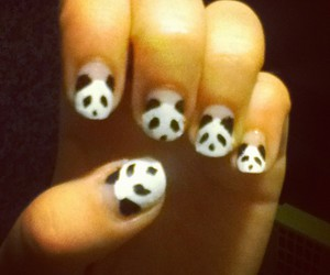 nail art panda bear cute
