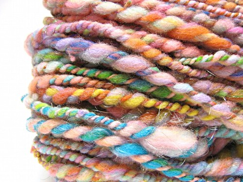 Super Bulky Pastel Rainbow Yarn, Handspun In Merino Wool, Alpaca And Sparkly Angelina- 55 Yards, 3.0 on Luulla