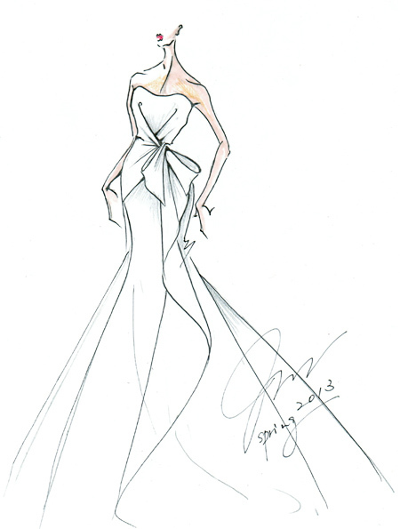 Spring bridal gown sketches wedding dress bridal hairstyles