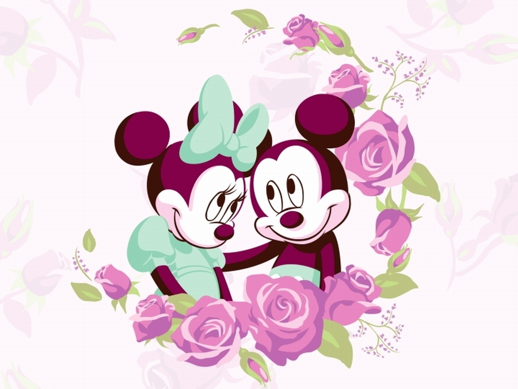 this is minnie and micky mouse around flowers we heart it disney love and flowers. Black Bedroom Furniture Sets. Home Design Ideas