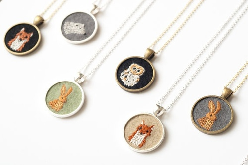 Jewels / miniature embroidered necklaces from knitknit
