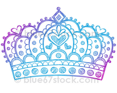 How To Draw A Heart With A Crown Hand-Drawn Sketchy Pri...