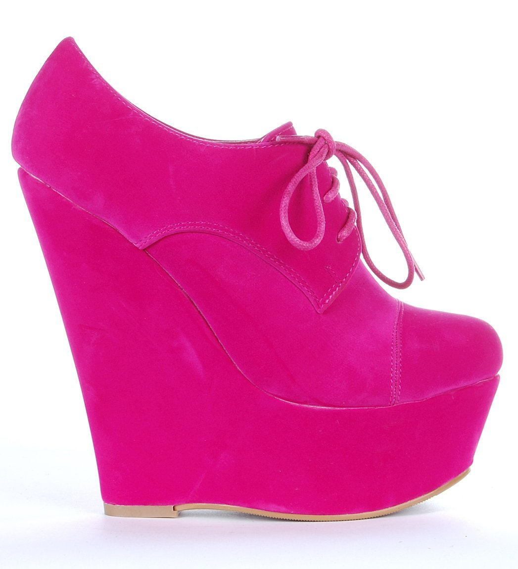 Hot Pink Wedge Heel Shoes | Tsaa Heel