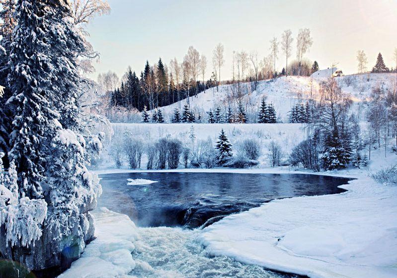 beautiful winter landscape park ice water