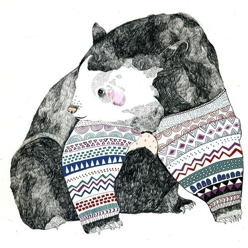 il 570xN.185906735 large Knitted Bear A3 Print by Juliapott on Etsy