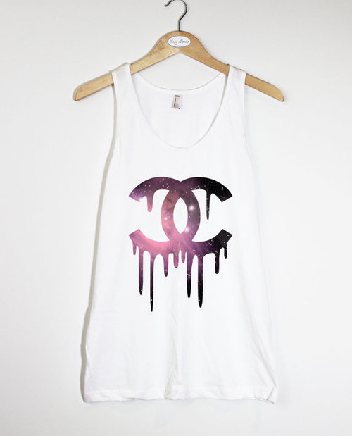 Space Pattern Dripping Chanel - American Apparel Unisex Fine Jersey Tank Top on Wanelo