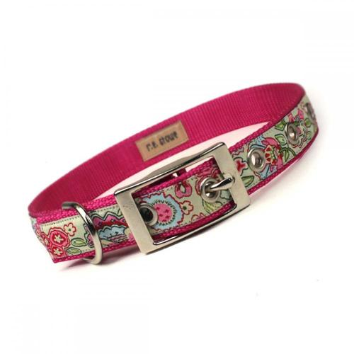 Pink And Green Jacobean Metal Buckle Dog Collar (3/4 Inch) on Luulla