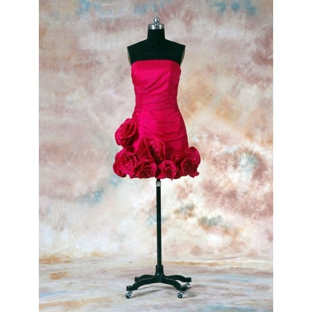 Short  Dress on Taffeta Strapless Short Red Bridesmaid Dress Bblbnb2864g For  278 00