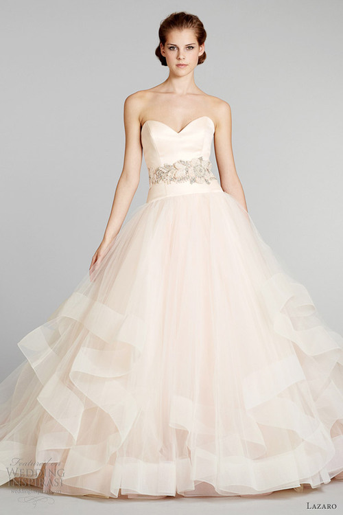 Pink Wedding Dresses Princess : Blush pink wedding dress princess cut lazaro bridal fall large