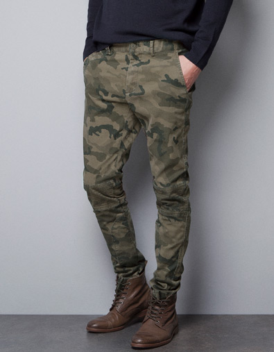camouflage chinos trousers man zara czech republic. Black Bedroom Furniture Sets. Home Design Ideas