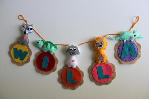 Personalized Animal Felt Name Banner   5 Letters   FREE SHIPPING For U.S & Canada on Luulla
