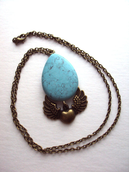 Necklace Western Style Country Girl Turquoise Stone And Wings on Luulla