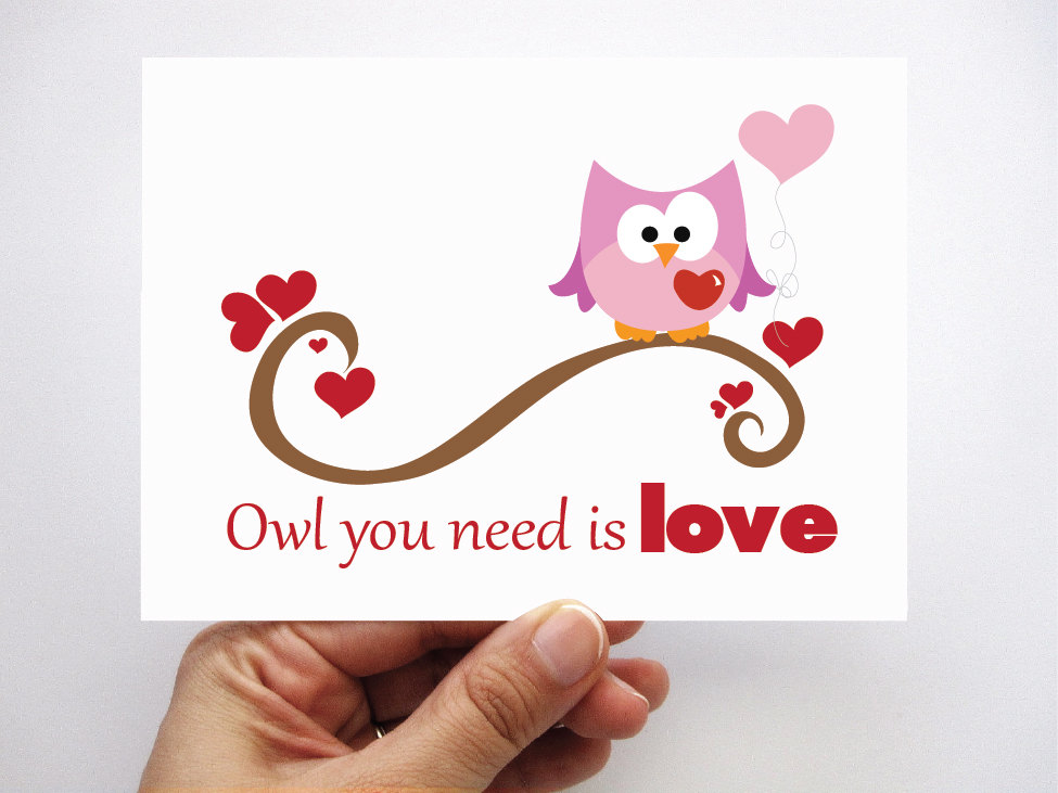 Valentines Day Card Owl You Need Is Love Card A50 on Luulla – Owl Valentines Day Cards
