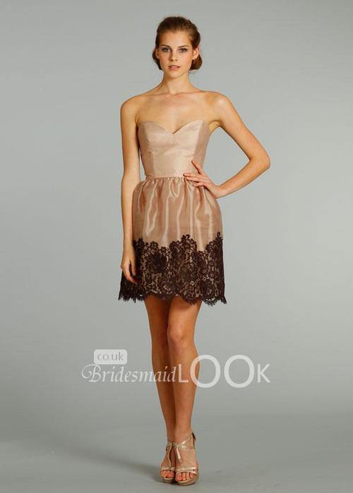 Camel-short-bridesmaid-dress-with-strapless-sweetheart-neckline-and-lace-skirt_large