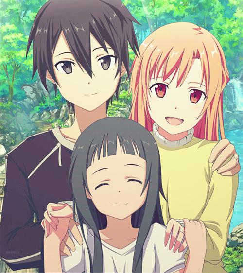 Kirito, Asuna and Yui Kirito And Asuna