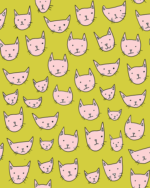 607994 4184865 lz large Pink Cats on Green Art Print by Chelsea Donovan | Society6