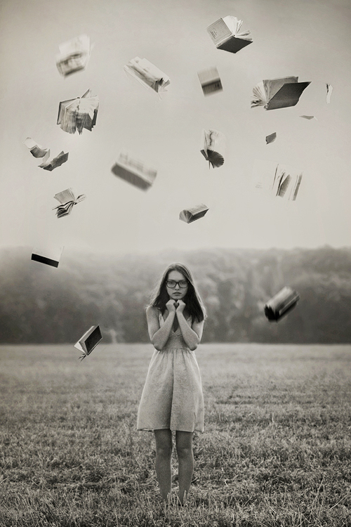 Field-girl-books-flying-black-and-white_large