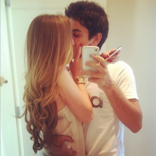 Selfies Mirror Cute Couple Kissing