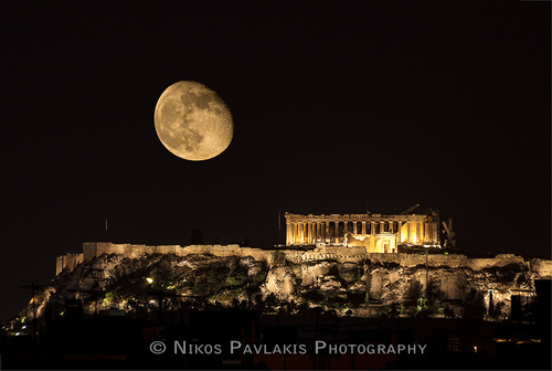 "500px / Photo ""Parthenon and moon"" by Nikos Pavlakis"