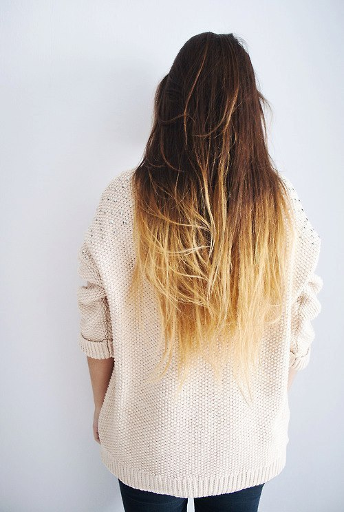 one length hairstyles : ombre hair Tumblr We Heart It
