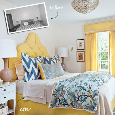 Wake Up Call Yellow And Blue Bedroom Makeover Southern