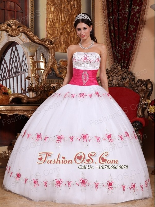 Beautiful Orange and White Quinceanera Dress StraplessTaffeta and    Quinceanera Dresses 2014 Pink And White
