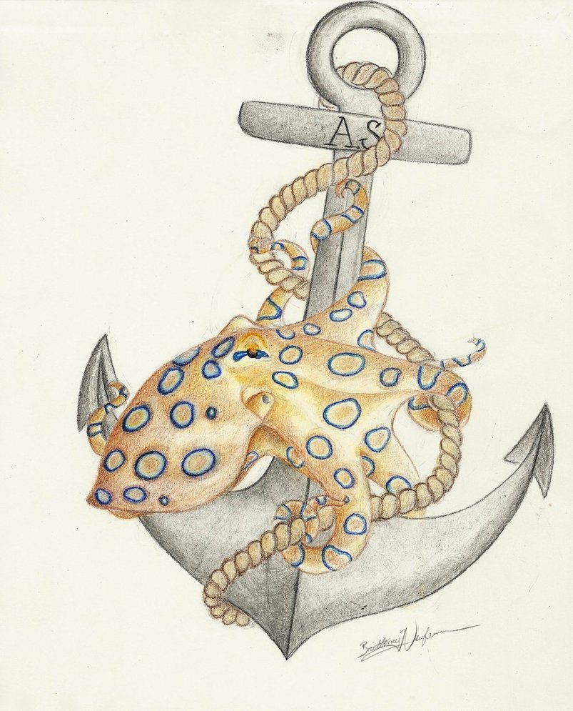 Anchor Octopus Drawing Group of Octopus And Anchor
