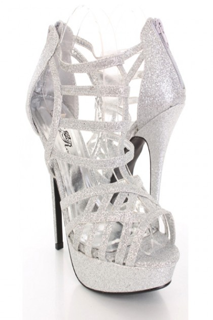 Silver Glitter Caged Strappy Peep Toe Platform Heels @ Amiclubwear ...