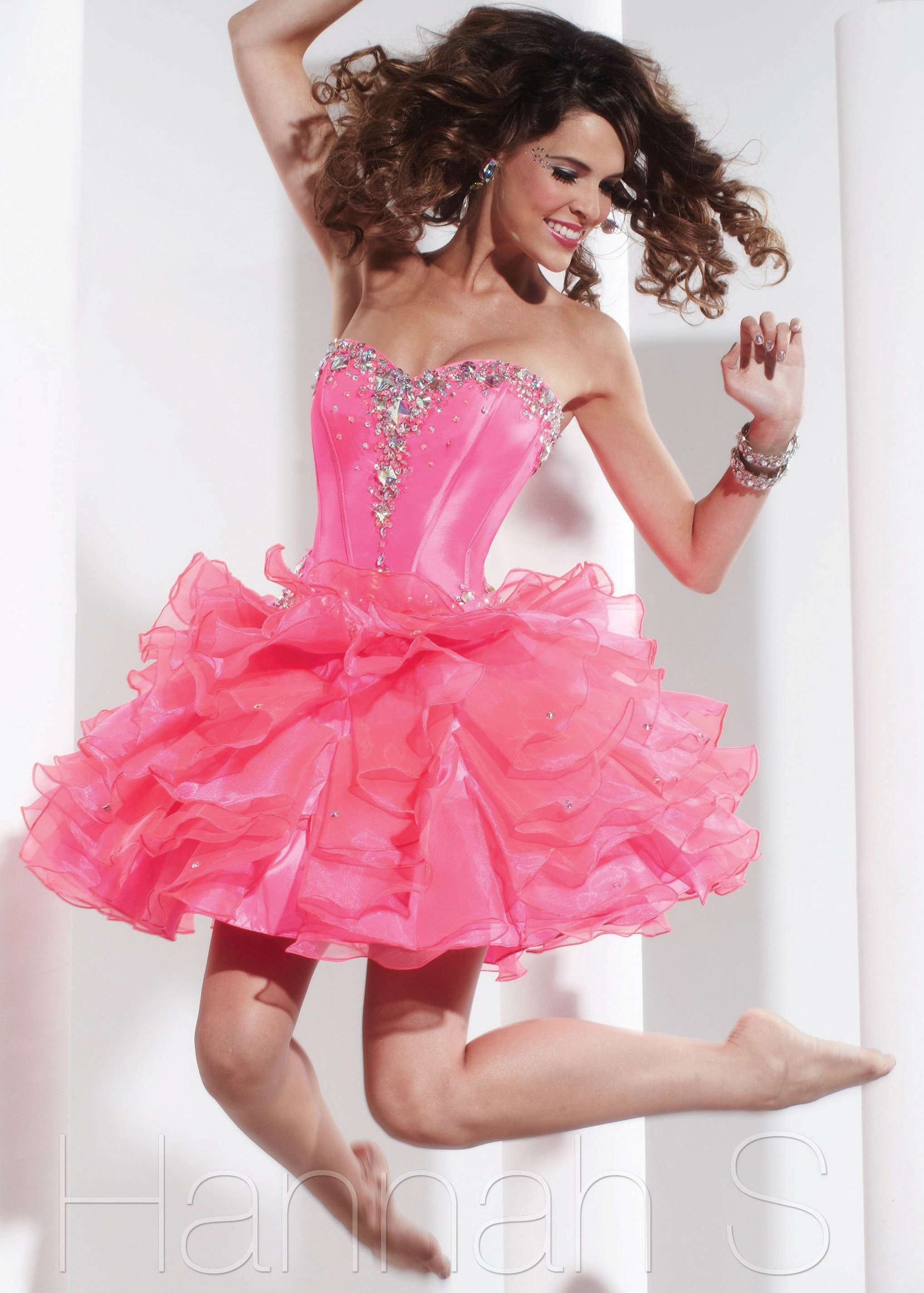Hannah S. 27773 - Bubblegum Pink Strapless Sweetheart Short ...