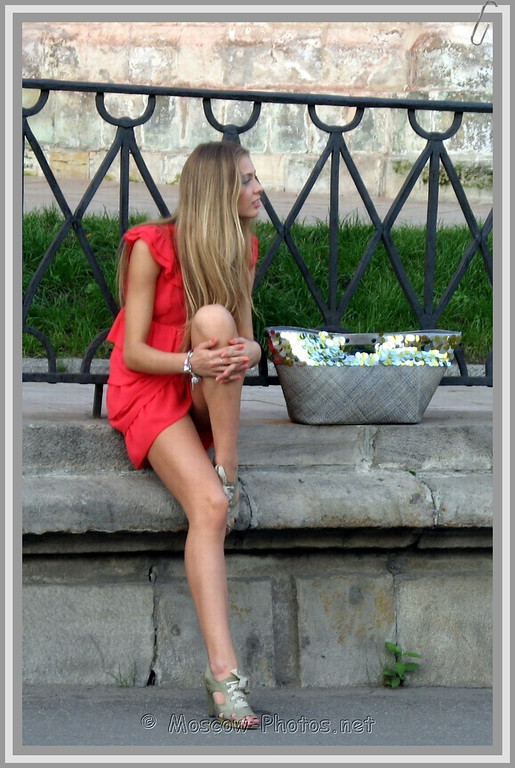 Long Haired Blonde Russian Model In Red Summer Mini Dress Gw Moscow Photos Pictures Of