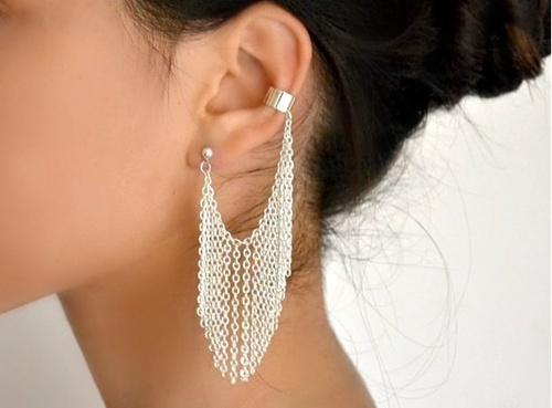 412712753321697779 mwqU5zpn c large Earrings / Silver chain fringe earring.