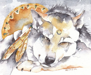 wolf water color