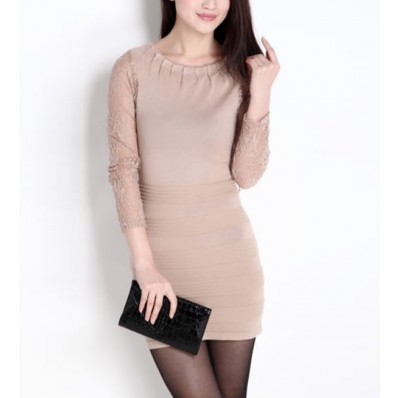 Black Dress  Lace Sleeves on Long Sleeve Dress   Dresses Casual Dress Casual Dresses Lace Dress