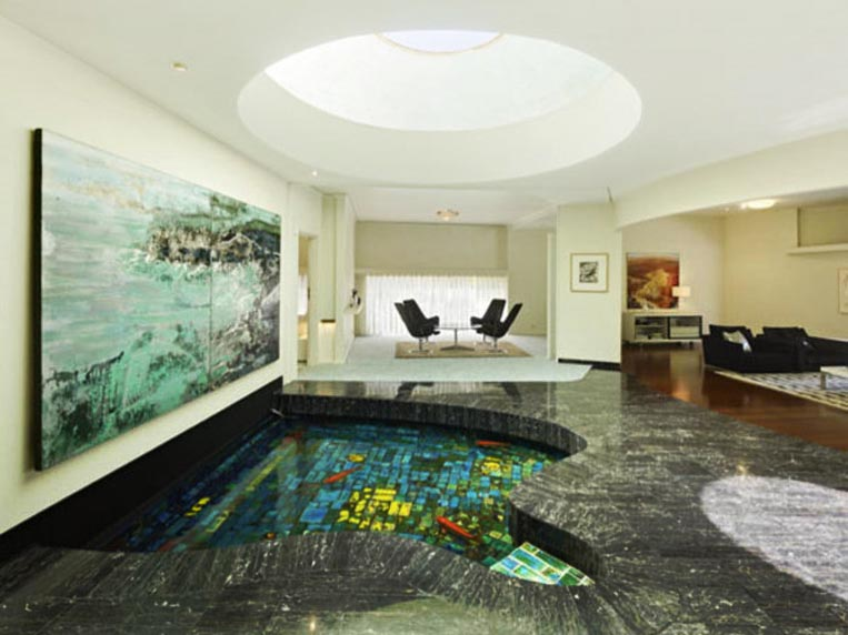 Luxury sixties interior fish pond design we heart it for Fish house interior designs