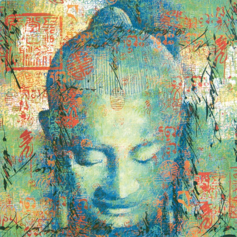 Buy pop art canvas buddha blue green and red buddha oil on for Buy mural paintings