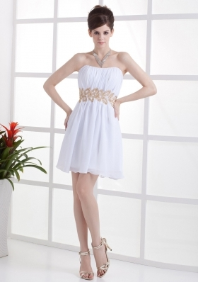 Beading and Ruching Decorate Bodice Mini-length White Chiffon 2013 Prom Dress - US$113.69