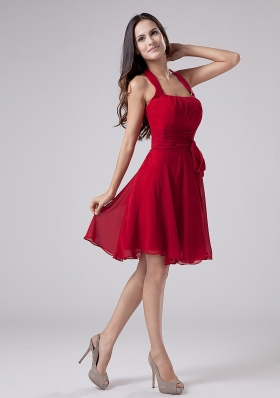 Red Halter Chiffon Knee-length A-Line Prom Dress Party - US$118.69