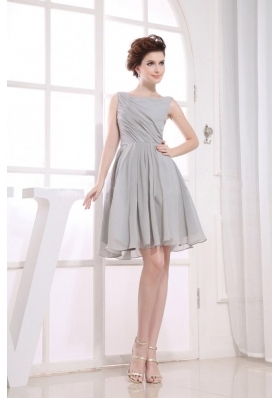 Bateau Grey knee-length Chiffon 2013 Prom Dress - US$102.45