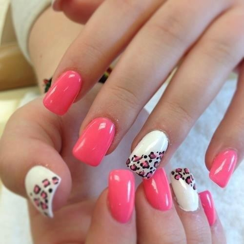 Nails Art, Manicure / pink & leopard nails art