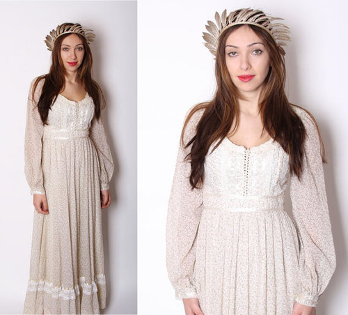Gunne Sax / Long Floral 1970s Wedding Dress / Dress / by aiseirigh