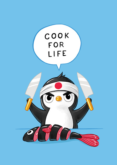 Penguin Chef Art Print by Freeminds   Society6