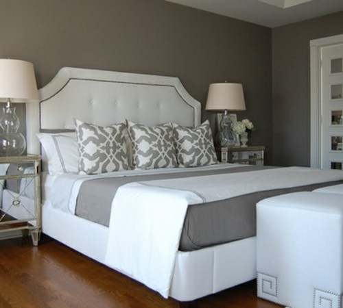 For The Home Grey And White Master Bedroom We Heart It Bed Bedroom And Grey